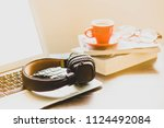 relaxing in the morning at home ... | Shutterstock . vector #1124492084