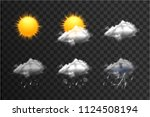 realistic weather icons set... | Shutterstock .eps vector #1124508194