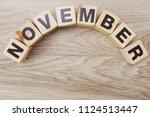 november alphabet letters on... | Shutterstock . vector #1124513447
