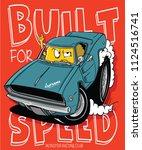 cool monster riding a sport car ... | Shutterstock .eps vector #1124516741