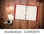 workspace with coffee cup ... | Shutterstock . vector #112452074