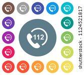 emergency call 112 flat white... | Shutterstock .eps vector #1124521817