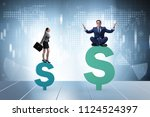 concept of inequal pay and... | Shutterstock . vector #1124524397