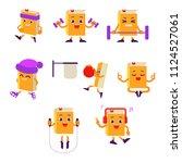 cartoon book character athlete... | Shutterstock .eps vector #1124527061