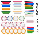 plate  set of icons. porcelain... | Shutterstock .eps vector #1124533187