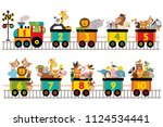 funny train with number of... | Shutterstock .eps vector #1124534441
