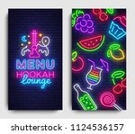 hookah lounge menu design...   Shutterstock .eps vector #1124536157