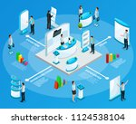 isometric promotional stands... | Shutterstock .eps vector #1124538104