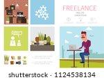 flat freelance infographic...   Shutterstock .eps vector #1124538134