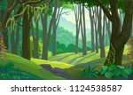 trees across green fields in a... | Shutterstock .eps vector #1124538587