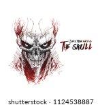 scratch devil skull   vampire... | Shutterstock .eps vector #1124538887