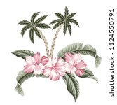 tropical vintage palm trees ... | Shutterstock .eps vector #1124550791