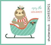 christmas sloth sitting in the... | Shutterstock .eps vector #1124552921