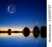 Night Sky Scene Reflected In A...