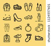 outline set of 16 fashion icons ... | Shutterstock .eps vector #1124557601
