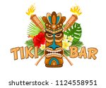 tiki tribal wooden mask  beach... | Shutterstock .eps vector #1124558951