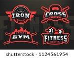 set sport  logo emblem on a...   Shutterstock .eps vector #1124561954