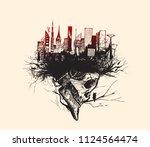 skech of skull isolated on... | Shutterstock .eps vector #1124564474