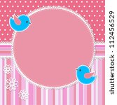 pink frame with birds and... | Shutterstock .eps vector #112456529