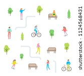 city life constructor. summer... | Shutterstock .eps vector #1124568431