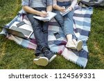 two students are preparing for... | Shutterstock . vector #1124569331