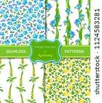 vector set of floral seamless... | Shutterstock .eps vector #1124583281