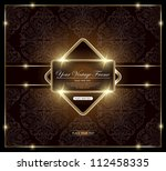 vintage frame on floral... | Shutterstock .eps vector #112458335