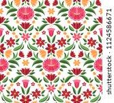 hungarian folk pattern vector...   Shutterstock .eps vector #1124586671