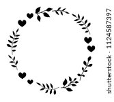 doodle monochrome heart and... | Shutterstock .eps vector #1124587397
