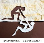 abstract people helping to get... | Shutterstock . vector #1124588264