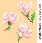 cross stitch magnolia | Shutterstock .eps vector #1124592221