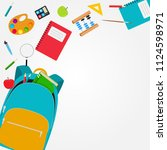 bag  backpack icon with school... | Shutterstock . vector #1124598971
