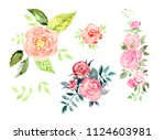 set of isolated vintage... | Shutterstock . vector #1124603981