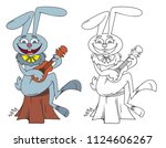 coloring book funny bunny plays ...   Shutterstock .eps vector #1124606267