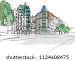 urban landscape of old european ... | Shutterstock .eps vector #1124608475