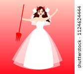 cartoon angry bride. cute bride ... | Shutterstock .eps vector #1124624444