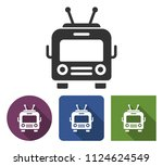 trolleybus icon in different... | Shutterstock . vector #1124624549