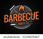 Barbecue Grill Logo On Black...