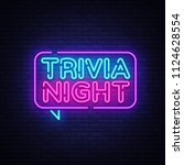 trivia night announcement neon... | Shutterstock . vector #1124628554