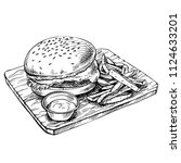hand drawn cheeseburger on wood.... | Shutterstock .eps vector #1124633201