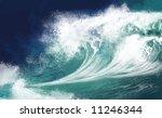 white ocean waves on blue sky... | Shutterstock . vector #11246344