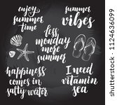 set of phrases for summer and... | Shutterstock .eps vector #1124636099