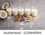 vegan alternative nut milk in... | Shutterstock . vector #1124640044