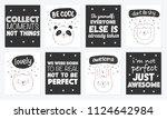vector set of cute postcards... | Shutterstock .eps vector #1124642984
