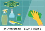 cleaning service   a hand in a... | Shutterstock .eps vector #1124645051