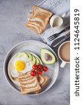 breakfast of coffee and fried... | Shutterstock . vector #1124645819