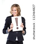 business woman with white card... | Shutterstock . vector #112464827