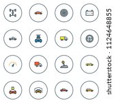 automobile icons colored line... | Shutterstock .eps vector #1124648855