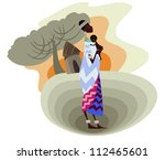 a young african mother with her ... | Shutterstock .eps vector #112465601
