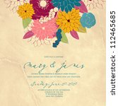 wedding card or invitation with ... | Shutterstock .eps vector #112465685